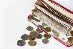 Red purse and coin and money Stock Image