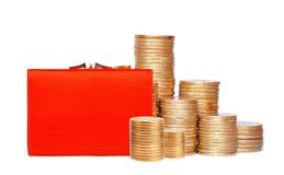 Red purse and coins isolated on white Royalty Free Stock Image