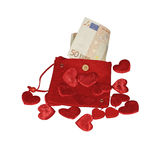 Red purse with fifty euro banknote Stock Image