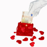 Red purse with fifty euro banknote and hearts Royalty Free Stock Image
