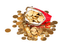 Red purse full of gold coins on a white Stock Image