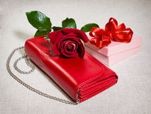 Red purse and gift Royalty Free Stock Images