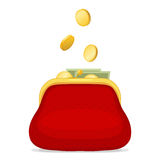 Red purse and gold coins Stock Photos