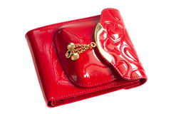 Red purse with gold metal  isolated on white Royalty Free Stock Images