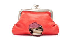 Red purse with hole. On white Stock Image