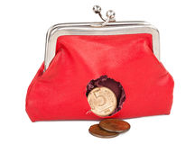 Red purse with hole Royalty Free Stock Image