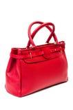 Red purse isolated on white background. Elegant red purse made of leather and isolated on white background Royalty Free Stock Photo