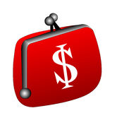 The Red purse with money Stock Images