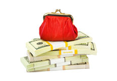 Red purse and money Royalty Free Stock Photo