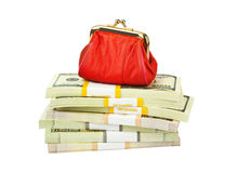 Red purse and money Royalty Free Stock Image