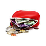 Red purse. With money on white background Stock Photography