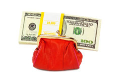 Red purse and money. On white background Stock Image