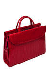 Red purse with snake skin pattern Stock Photo
