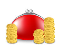 Red purse and a stack of coins Royalty Free Stock Photos