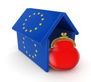 Red purse under flag of EU. Stock Images
