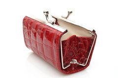 Open Red Purse. Red purse on white background with soft shadow Stock Photo