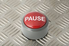 Red Push Button Labeled `Pause` on Aluminum Diamond Plate Backgr. Red circular panic push button labeled `Pause` on aluminum diamond plate background stock photography