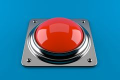 Red push button. Isolated on blue background Stock Images