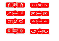 Red push. Eight Red Buttons for Press vector illustration