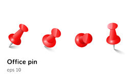 Red push office pin set vector realistic Royalty Free Stock Photography