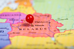 Red push pin on map of Belarus Stock Images