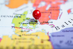 Red push pin on map of Denmark Royalty Free Stock Photo