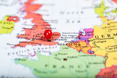 Red push pin on map of England Royalty Free Stock Images