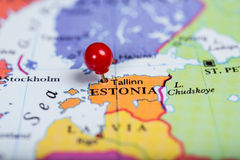 Red push pin on map of Estonia Stock Photo