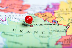 Red push pin on map of France Royalty Free Stock Images