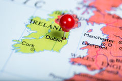 Red push pin on map of Ireland Stock Photos