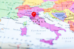 Red push pin on map of Italy Royalty Free Stock Image