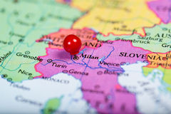 Red push pin on map of Italy Stock Images