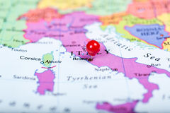 Red push pin on map of Italy Stock Photography