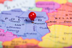 Red push pin on map of Poland Stock Image
