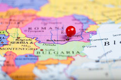 Red push pin on map of Romania Royalty Free Stock Photos
