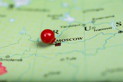 Red push pin on map of Russia Royalty Free Stock Photography
