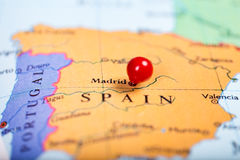 Red push pin on map of Spain Royalty Free Stock Image