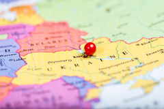 Red push pin on map of Ukraine Royalty Free Stock Photos