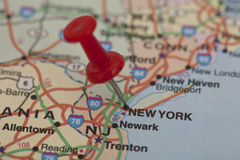 Red push pin pointing on new york Royalty Free Stock Image