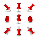 Red push pins isolated on white background. Office thumbtacks or pushpins vector Stock Image