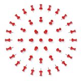 Red push pins isolated on white background. Set of office pushpins isolated on white all angles Stock Images