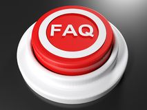FAQ red pushbutton - 3D rendering. A red pushbutton for FAQ: Frequently Asked Questions - 3D rendering illustration Royalty Free Stock Image