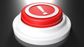 Red pushbutton with exclamation point - 3D rendering. A red pushbutton has a white exclamation point in a circle on its top side - 3D rendering illustration Royalty Free Stock Photo