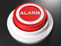 Red pushbutton alarm - 3D rendering. A red pushbutton has the write ALARM on its top side - 3D rendering illustration Royalty Free Stock Image