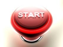 Red pushbutton to START - 3D rendering Royalty Free Stock Photos
