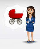 Red pushchair in bubble idea concept of woman in suit. Illustration Stock Images