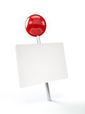 Red Pushpin with Blank Card Stock Image