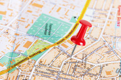 Red pushpin on a map Royalty Free Stock Photo