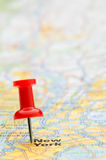 Red pushpin marking New York City on map Stock Photos