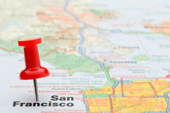 Red pushpin marking San Francisco on map Royalty Free Stock Images